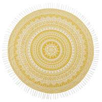 Fouta en coton jaune motif mandala blanc D150 Happy Zen