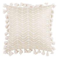Funda de cojín con pompones de algodón blanco 40x40 Sitra