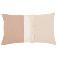 Funda de cojín de algodón beige y rosa envejecido 30x50 Menara