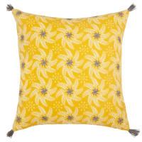 Funda de cojín de algodón con motivo floral amarillo 40x40 Tournesol