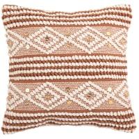 SAMALYA - Funda de cojín de algodón tejido naranja con estampado blanco 40 x 40 cm