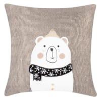 Funda de cojín de Navidad de algodón gris con estampado de oso blanco, negro y dorado 40x40
