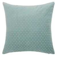 GARY - Funda de cojín de terciopelo color azul verdoso y clavos color dorado 40x40 cm