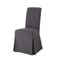 Funda larga de silla de lino lavado antracita Margaux