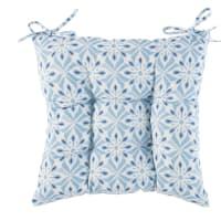 Galette de chaise en coton motifs carreaux de ciment Belem