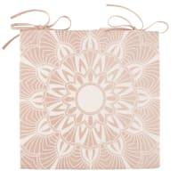 Galette de chaise en coton rose motif mandala blanc Kriya