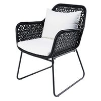 Garden armchair in black resin wicker with white cushions Cuzco
