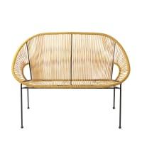 Gartenbank 2/3-Sitzer aus senfgelbem Harz-Gewebe und schwarzem Metall Copacabana