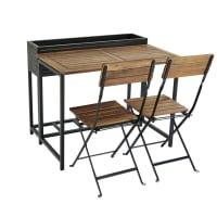 Gartentisch und 2 Stühle aus massivem Akazienholz und schwarzem Metall Calathea