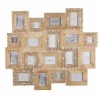 Gebleekte, mangohouten fotolijst voor 18 foto's met houtsnijwerk 103 x 91 cm Bora Bora