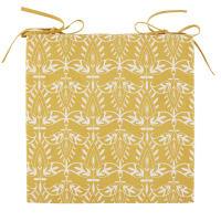 SUTRA - Geel katoenen stoelkussen met witte grafische motieven