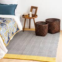 COLUMBUS - Geel katoenen tapijt met grijze en ecru grafische motieven 140x200