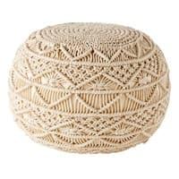 Geflochtener Puff aus Baumwoll-Makramee