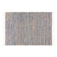 Geflochtener Teppich aus Jute und Baumwolle, blau, 140x200