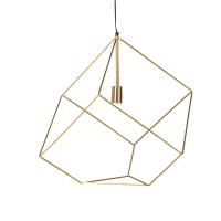 Geometrische hanglamp van goudkleurig metaaldraad Cube