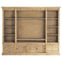 Gerecycleerd massief denhouten boekenkast-tv-meubel Passy