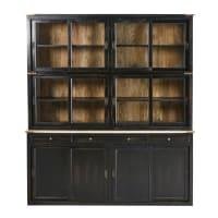 Geschirrschrank mit 12 Türen und 3 Schubladen aus massivem Mangoholz, schwarz Indies