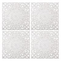Geschnitzte und gebleichte Wanddekos (x4) 60x60 Madang