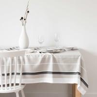 Gestreept katoenen tafellaken met jacquardweefsel en motieven 150x250