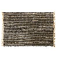 Gewebter Teppich aus schwarzem Kuhleder und Jute 140x200 Maurice
