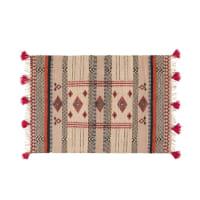 Geweven tapijt van katoen en jute met grafisch motief 140x200