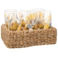 Gläser mit gelbem Blumenmotiv (x6) und Ständer aus Pflanzenfasergeflecht