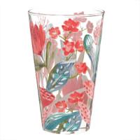 Glas met meerkleurige bloemenprint