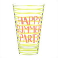 Glas mit gelben und orangefarbenen Mustern Summer Party