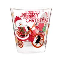 Set aus 6 - Glasbecher, bedruckt mit Weihnachtsmann-Motiv
