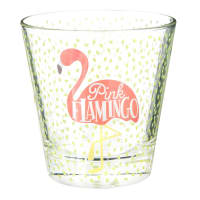 Glasbecher  mit rosa druck Flamingo