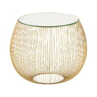 Glass and Gold Metal Wire Side Table Barbara