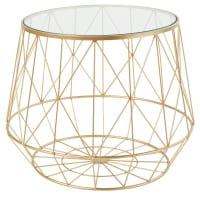 Glass and Gold Metal Wire Side Table Florentine