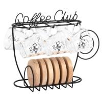 COFFEE CLUB - Glass Coffee Cups (x6) and Black Metal Holder