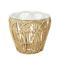 Glass Coffee Table with Woven Faux Rattan Legs Gili
