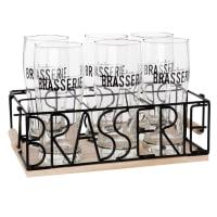 BRASSERIE - Glazen (x6) met metalen en grenen houder
