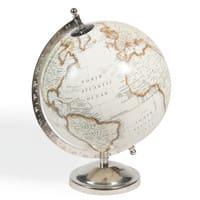 Globe terrestre carte du monde beige Clémence