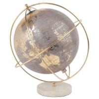 PLANETI - Globe terrestre carte du monde gris, doré et blanc