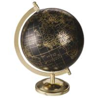 Globe terrestre carte du monde noir et doré 5th Avenue