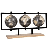 Globo terrestre com mapa-múndi, suporte em metal e madeira de mangueira