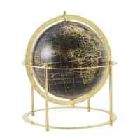 VASCO - Globo terrestre de mesa preto e metal dourado brilhante altura 30