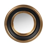 VICTORIA - Gold and black polyresin mirror D12cm