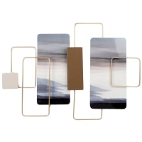 LANDSCAPE - Gold, blue, taupe and beige metal wall art 71x50cm