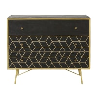 Gold Metal and Black Solid Mango Wood 3-Drawer Chest Jagger
