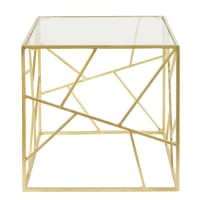 Gold Metal and Glass Side Table Monterey