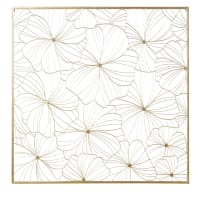 Gold Metal Wire Flower Wall Art 100x100 Camelia
