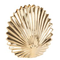 SHELL - Gold ribbed ceramic vase H16cm