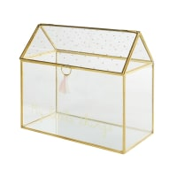 SUZON - Golden Metal and Glass Jewellery Box