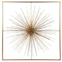 HILA - Goudkleurige metalen wanddecoratie met draadstructuur 80x80