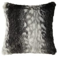 Graues Kissen  aus Kunstfell, 45x45 Lynx