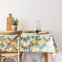 Green and Yellow Floral Print Cotton Tablecloth 140x250 Coreopsis